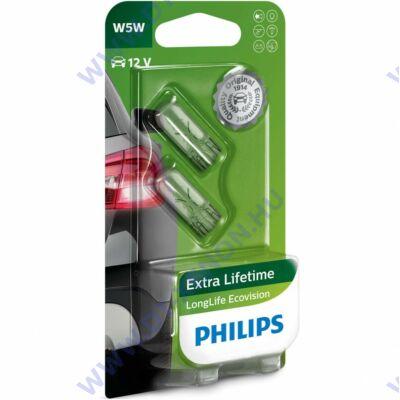 Philips T10 W5W LongLife EcoVision halogén izzó készlet 12961LLECO