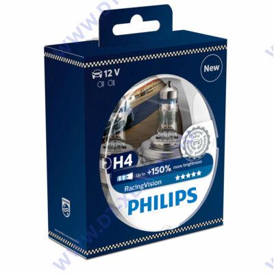 Philips H4 RacingVision halogén izzó +150% 12342RVS2