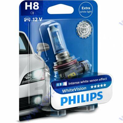 Philips H8 WhiteVision halogén izzó +60% 12360WHVB1