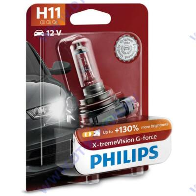 Philips H11 X-tremeVision G-Force halogén izzó +130% 12362XVG