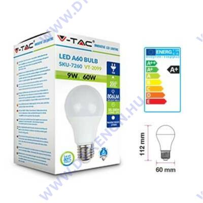 V-TAC E27 LED 9W (=60W) 2700K VT-2099/ SKU-7260