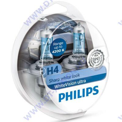 Philips H4 WhiteVision Ultra halogén izzó +60% 12342WVUSM + W5W