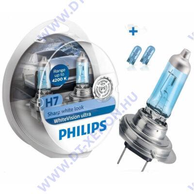 Philips H7 WhiteVision Ultra halogén izzó +60% 12972WVUSM + W5W